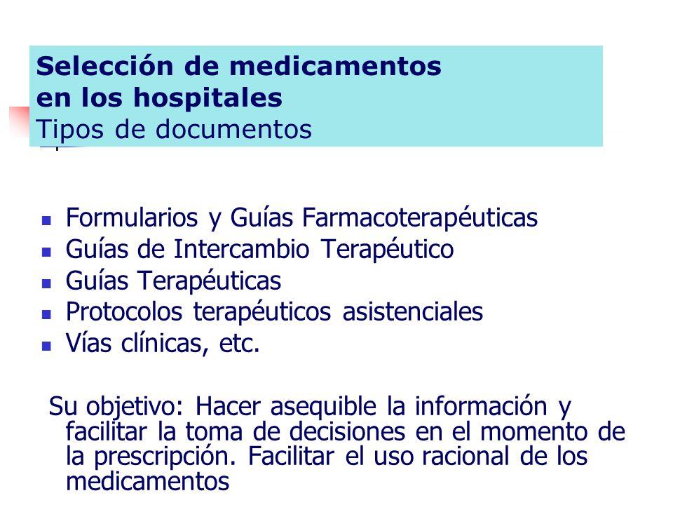 Selección de medicamentos en los hospitales Tipos de documentos