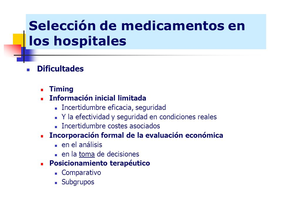Selección de medicamentos en los hospitales