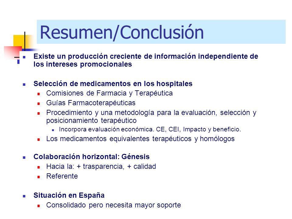 Resumen/Conclusión Existe un producción creciente de información independiente de los intereses promocionales.