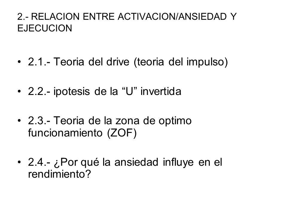 2.- RELACION ENTRE ACTIVACION/ANSIEDAD Y EJECUCION