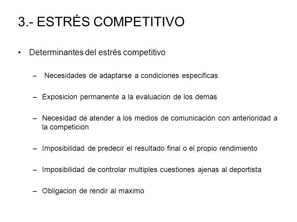 3.- ESTRÉS COMPETITIVO Determinantes del estrés competitivo