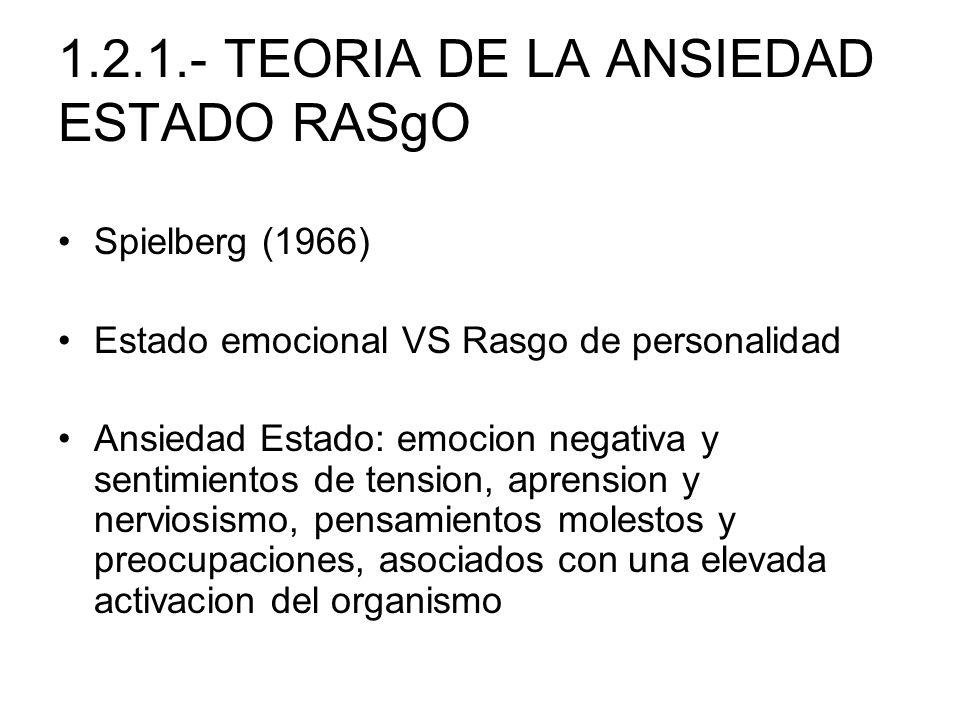 1.2.1.- TEORIA DE LA ANSIEDAD ESTADO RASgO