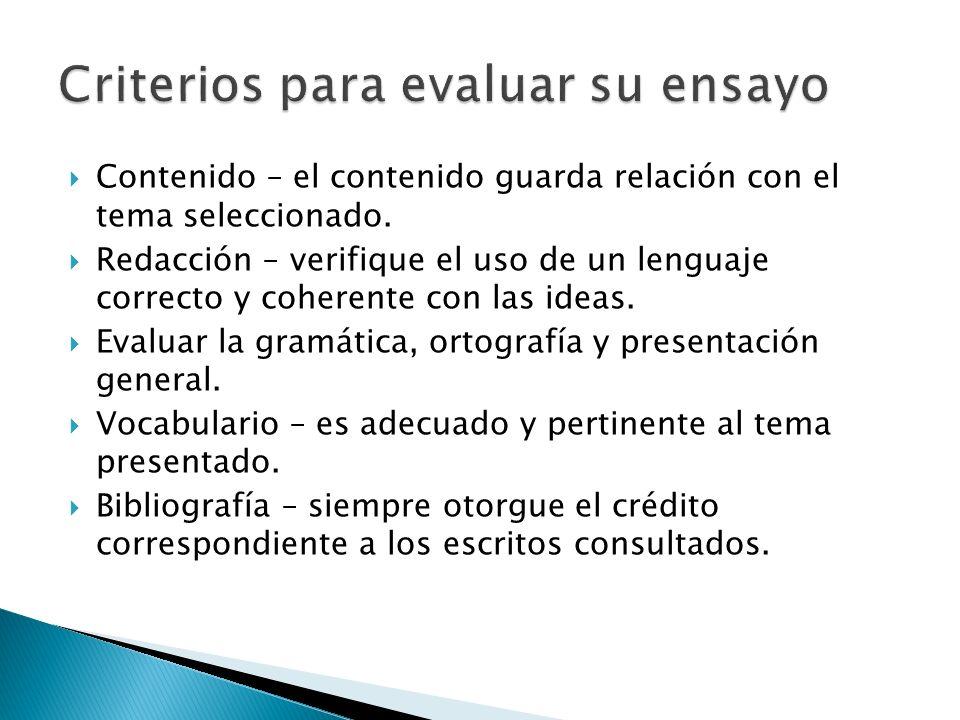 Criterios para evaluar su ensayo