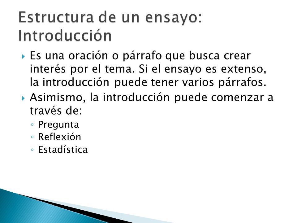 Estructura de un ensayo: Introducción