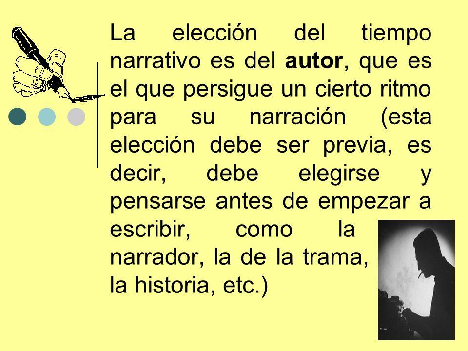 La elección del tiempo narrativo es del autor, que es el que persigue un cierto ritmo para su narración (esta elección debe ser previa, es decir, debe elegirse y pensarse antes de empezar a escribir, como la del narrador, la de la trama, la de la historia, etc.)