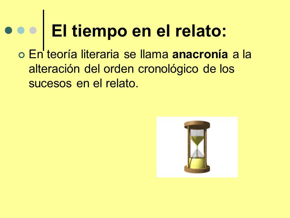 El tiempo en el relato:En teoría literaria se llama anacronía a la alteración del orden cronológico de los sucesos en el relato.