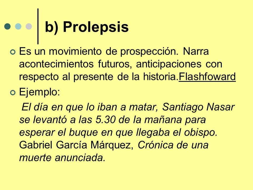 b) Prolepsis Es un movimiento de prospección. Narra acontecimientos futuros, anticipaciones con respecto al presente de la historia.Flashfoward.