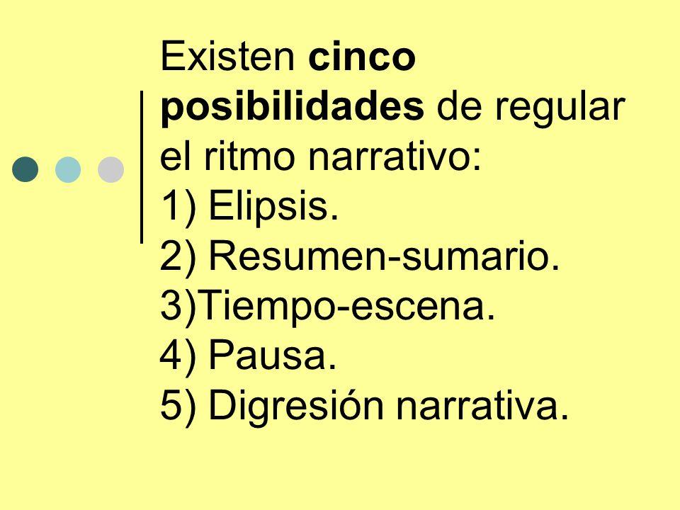 Existen cinco posibilidades de regular el ritmo narrativo: 1) Elipsis