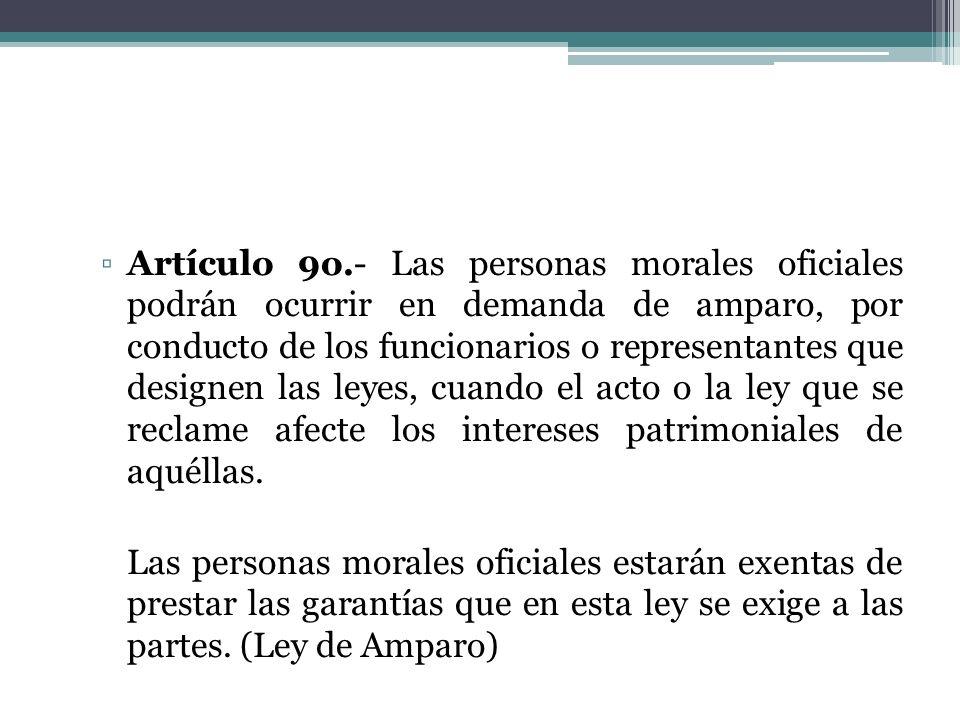 Artículo 9o.- Las personas morales oficiales podrán ocurrir en demanda de amparo, por conducto de los funcionarios o representantes que designen las leyes, cuando el acto o la ley que se reclame afecte los intereses patrimoniales de aquéllas.