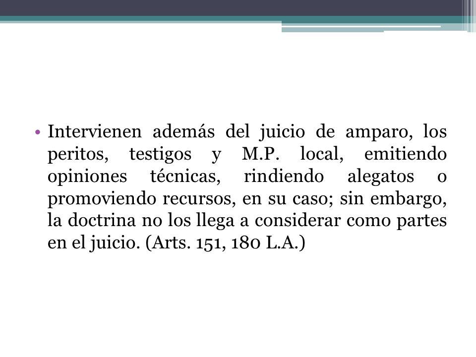 Intervienen además del juicio de amparo, los peritos, testigos y M. P