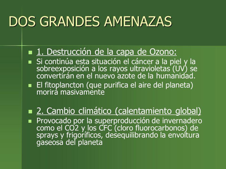 DOS GRANDES AMENAZAS 1. Destrucción de la capa de Ozono: