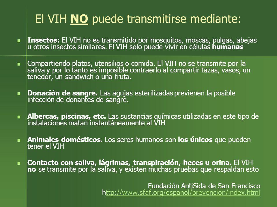 El VIH NO puede transmitirse mediante: