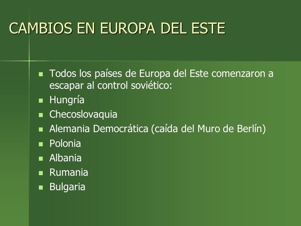 CAMBIOS EN EUROPA DEL ESTE
