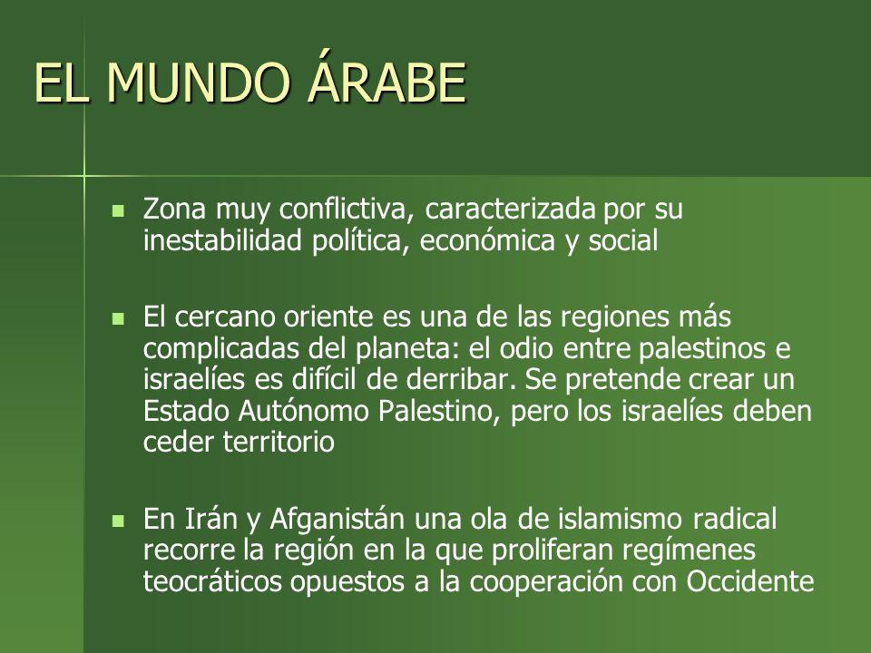 EL MUNDO ÁRABE Zona muy conflictiva, caracterizada por su inestabilidad política, económica y social.