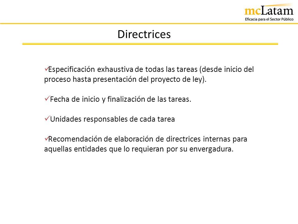 Directrices Especificación exhaustiva de todas las tareas (desde inicio del proceso hasta presentación del proyecto de ley).