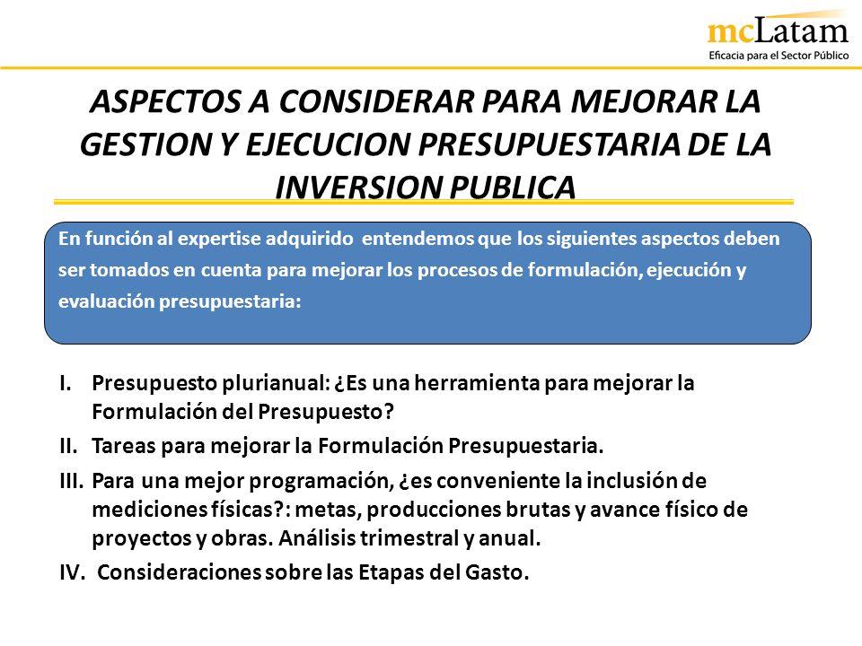 ASPECTOS A CONSIDERAR PARA MEJORAR LA GESTION Y EJECUCION PRESUPUESTARIA DE LA INVERSION PUBLICA