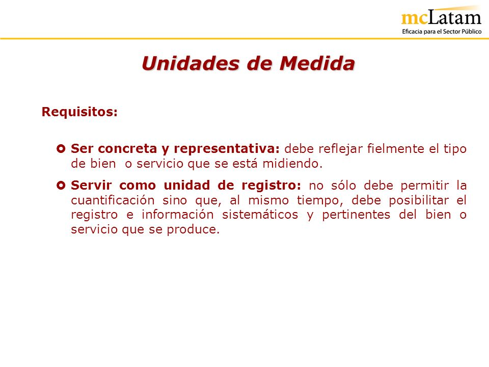 Unidades de Medida Requisitos: