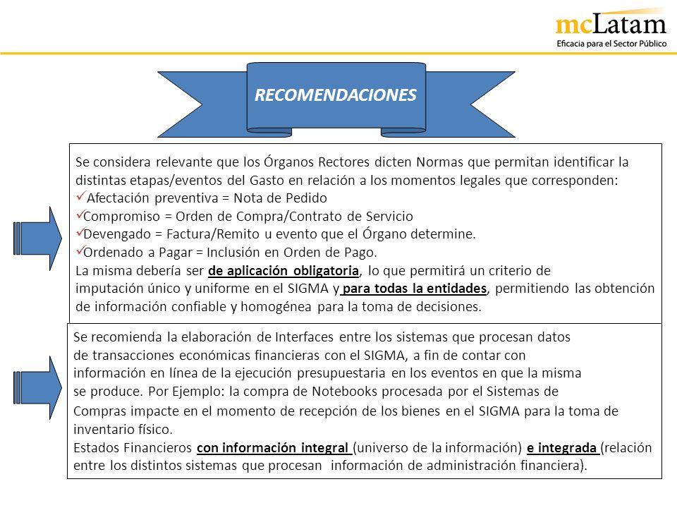 RECOMENDACIONES Se considera relevante que los Órganos Rectores dicten Normas que permitan identificar la.