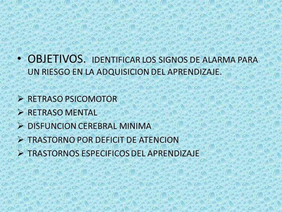 OBJETIVOS. IDENTIFICAR LOS SIGNOS DE ALARMA PARA UN RIESGO EN LA ADQUISICION DEL APRENDIZAJE.