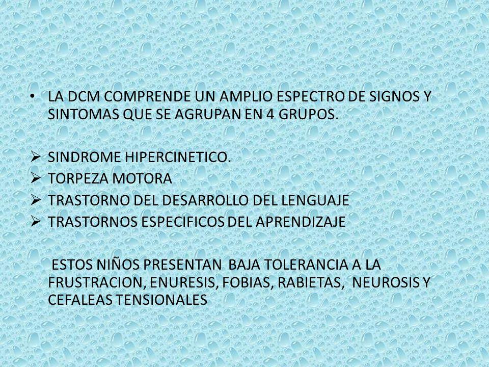 LA DCM COMPRENDE UN AMPLIO ESPECTRO DE SIGNOS Y SINTOMAS QUE SE AGRUPAN EN 4 GRUPOS.