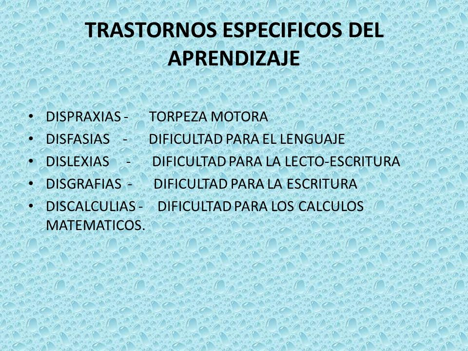 TRASTORNOS ESPECIFICOS DEL APRENDIZAJE