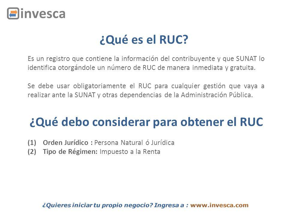 ¿Qué debo considerar para obtener el RUC