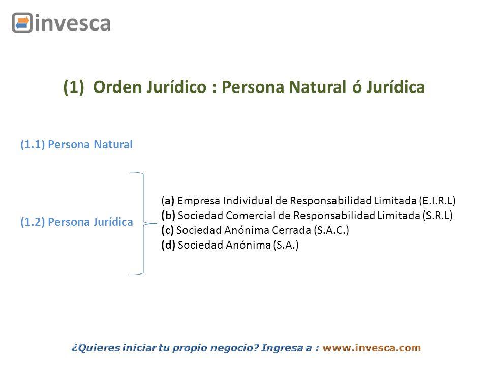 (1) Orden Jurídico : Persona Natural ó Jurídica
