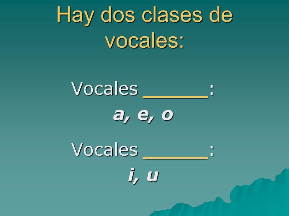 Hay dos clases de vocales: