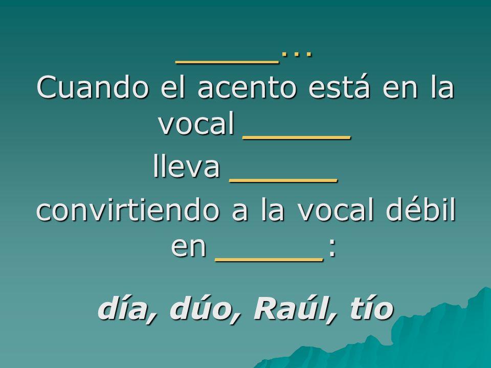 _____… Cuando el acento está en la vocal _____ lleva _____