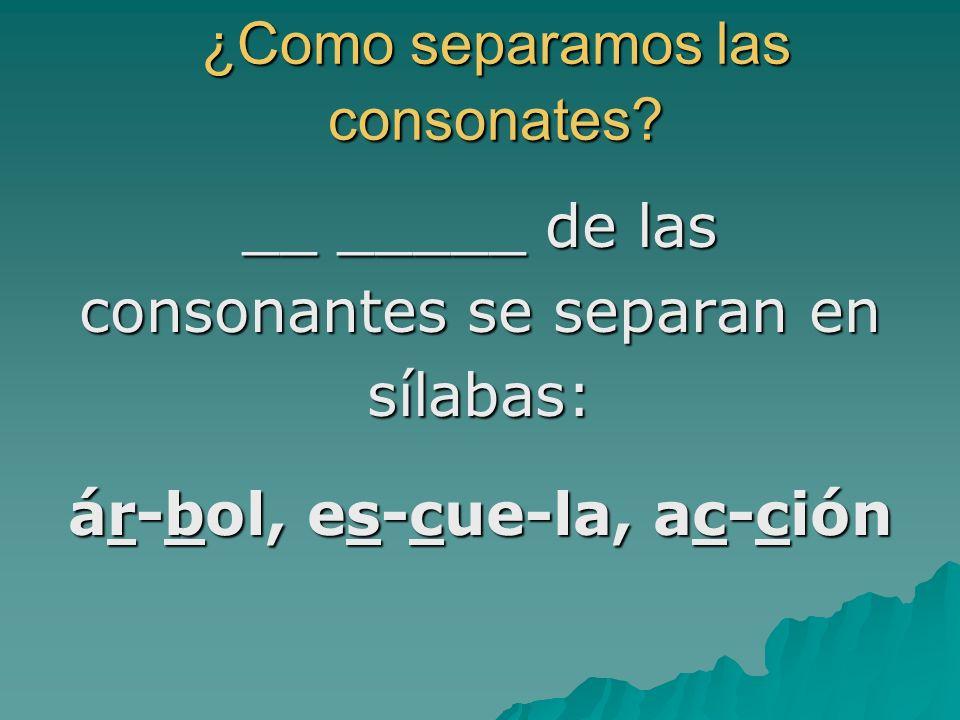 ¿Como separamos las consonates