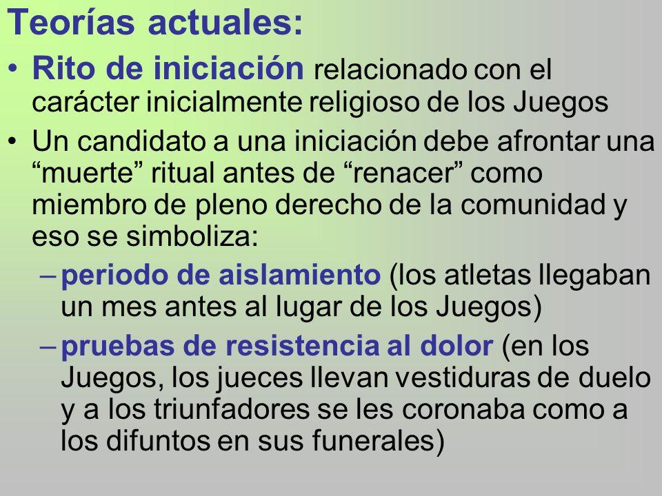 Teorías actuales: Rito de iniciación relacionado con el carácter inicialmente religioso de los Juegos.