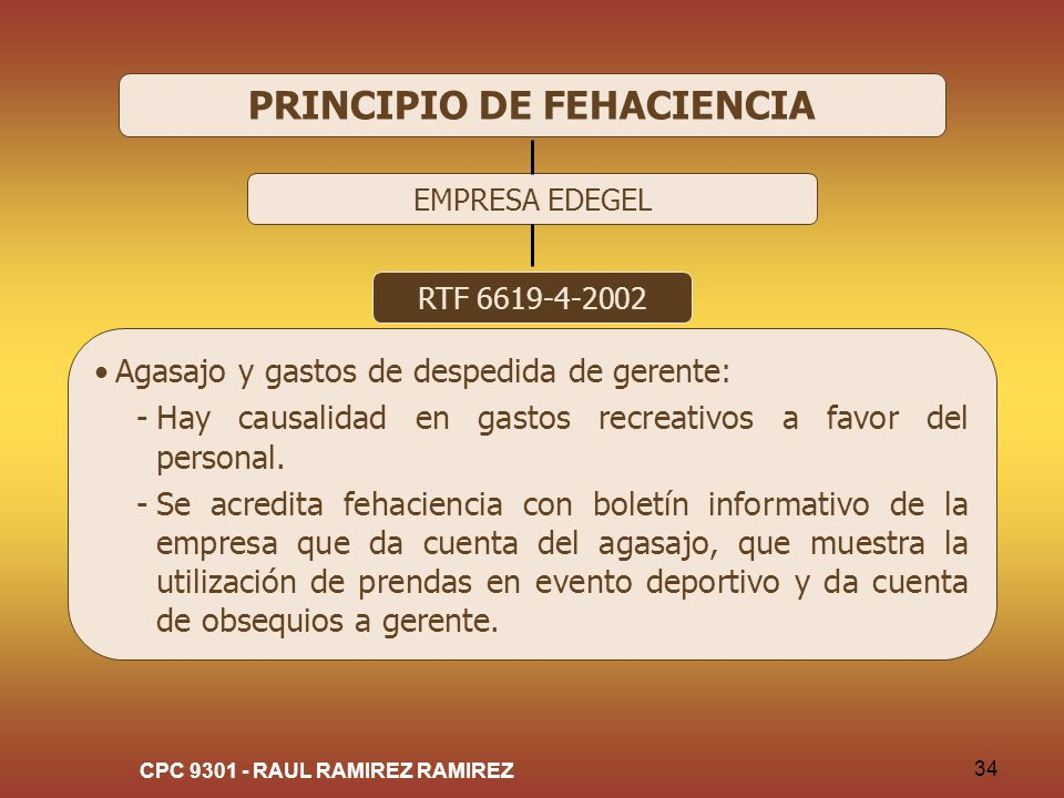 PRINCIPIO DE FEHACIENCIA