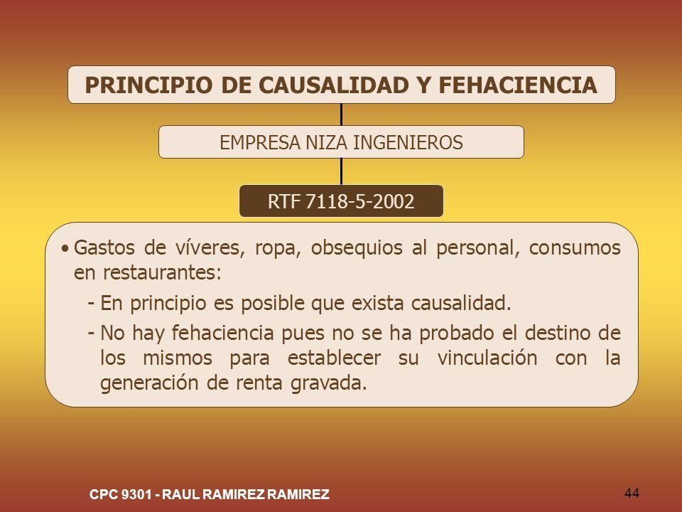 PRINCIPIO DE CAUSALIDAD Y FEHACIENCIA