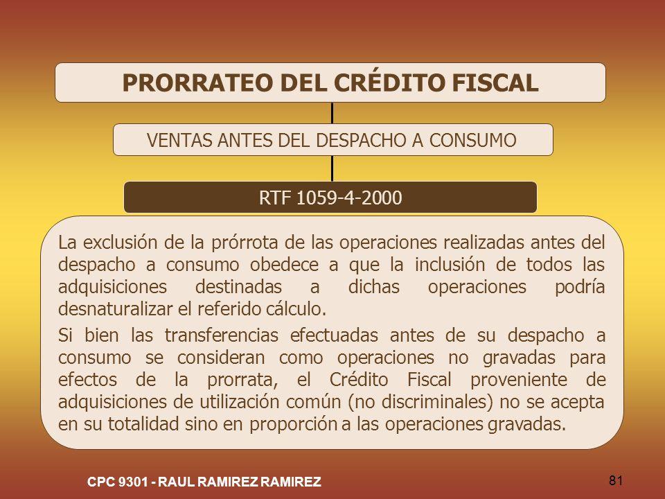 PRORRATEO DEL CRÉDITO FISCAL