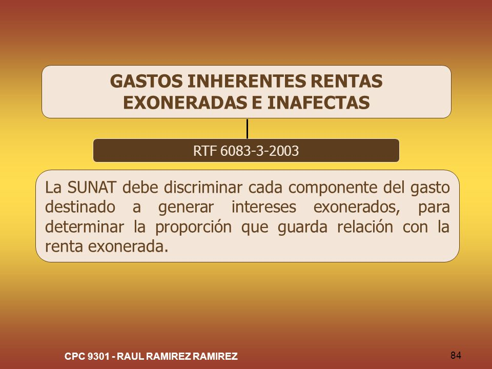 GASTOS INHERENTES RENTAS EXONERADAS E INAFECTAS