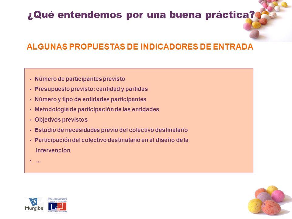 ALGUNAS PROPUESTAS DE INDICADORES DE ENTRADA