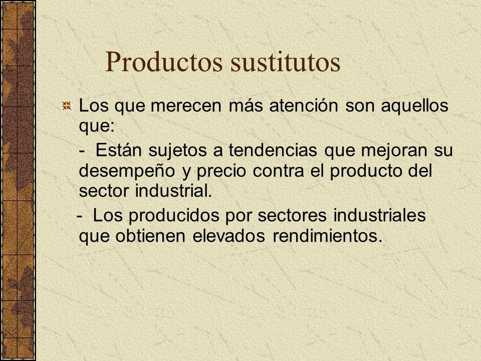 Productos sustitutos Los que merecen más atención son aquellos que: