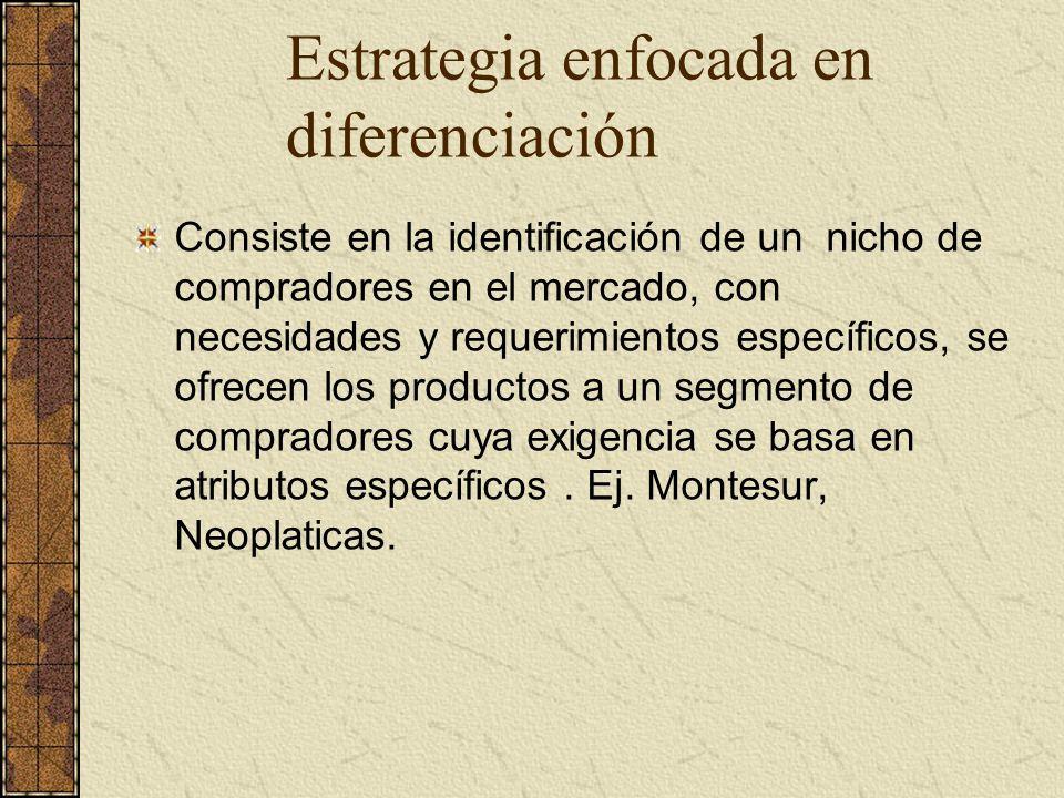 Estrategia enfocada en diferenciación