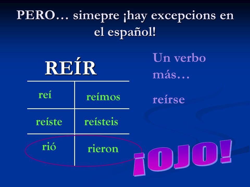 PERO… simepre ¡hay excepcions en el español!