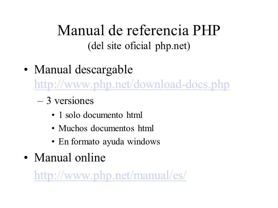 Manual de referencia PHP (del site oficial php.net)