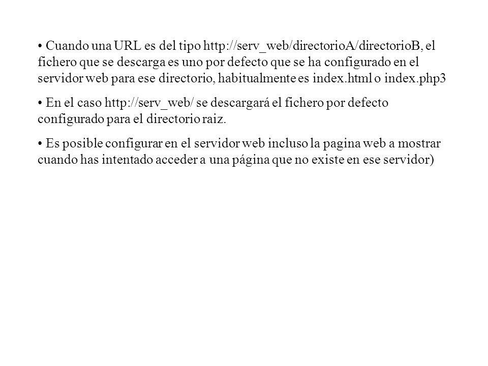 Cuando una URL es del tipo http://serv_web/directorioA/directorioB, el fichero que se descarga es uno por defecto que se ha configurado en el servidor web para ese directorio, habitualmente es index.html o index.php3