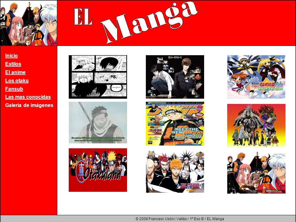 Manga EL Inicio Estilos El anime Los otaku Fansub Las mas conocidas
