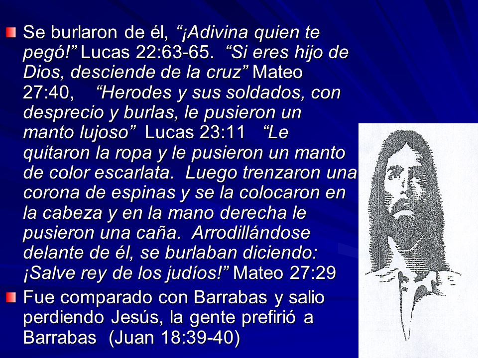 Se burlaron de él, ¡Adivina quien te pegó. Lucas 22:63-65
