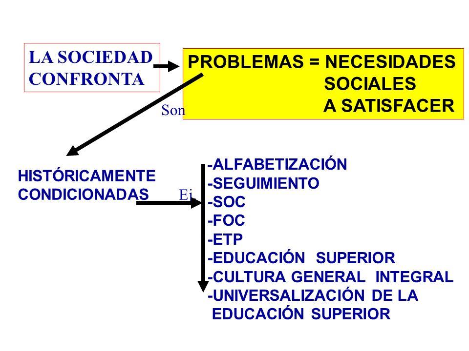 PROBLEMAS = NECESIDADES SOCIALES A SATISFACER