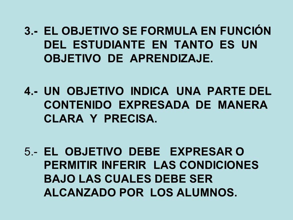 3.- EL OBJETIVO SE FORMULA EN FUNCIÓN DEL ESTUDIANTE EN TANTO ES UN OBJETIVO DE APRENDIZAJE.