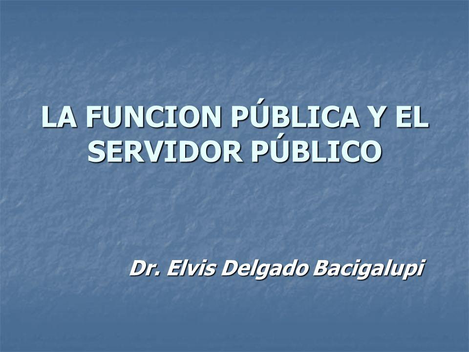 LA FUNCION PÚBLICA Y EL SERVIDOR PÚBLICO