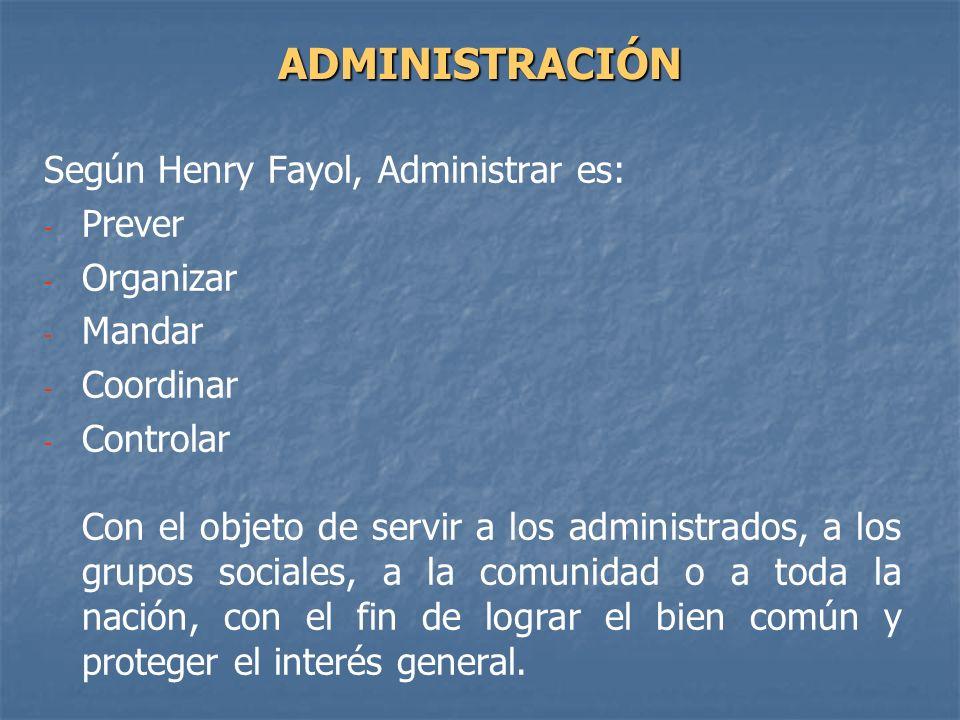 ADMINISTRACIÓN Según Henry Fayol, Administrar es: Prever Organizar