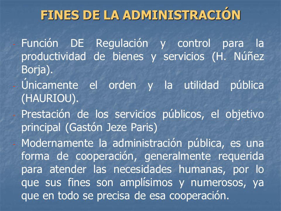 FINES DE LA ADMINISTRACIÓN