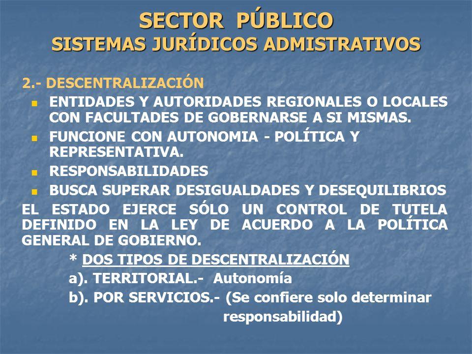 SECTOR PÚBLICO SISTEMAS JURÍDICOS ADMISTRATIVOS