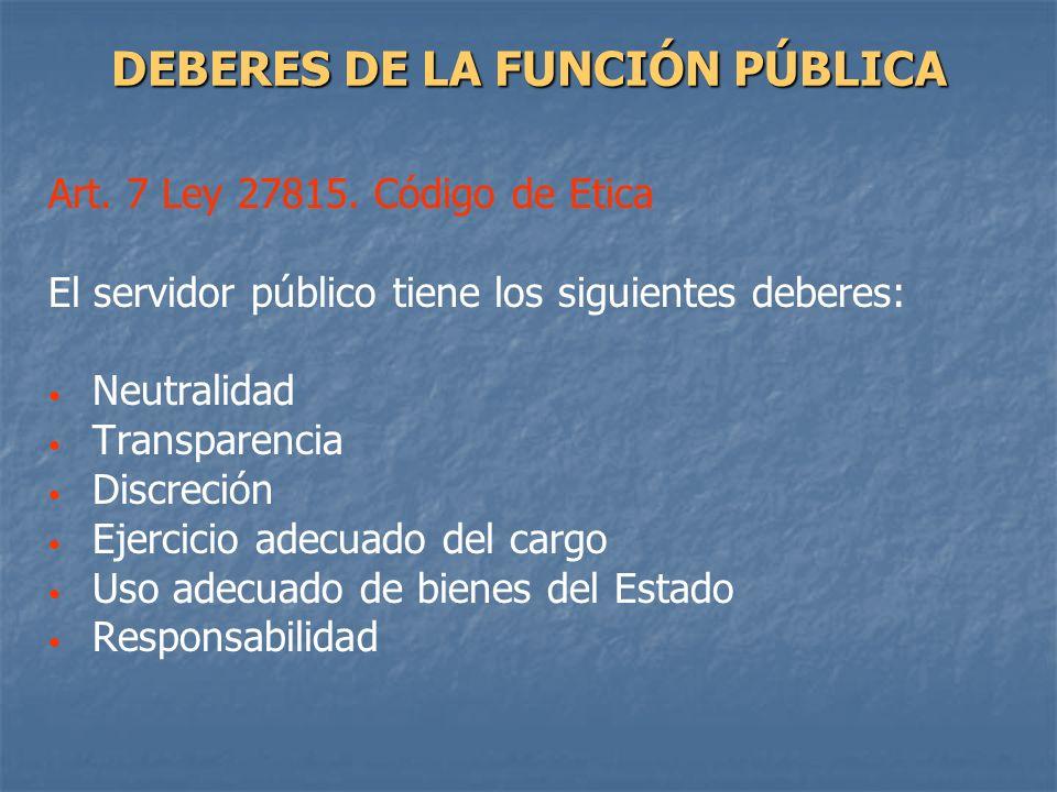 DEBERES DE LA FUNCIÓN PÚBLICA